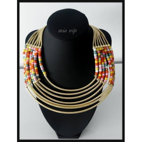 Collar africano oro y multicolor