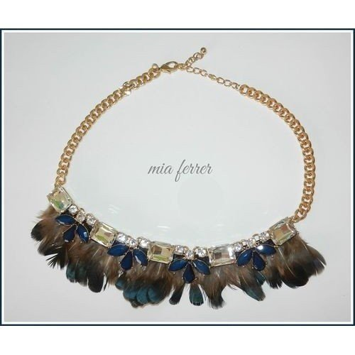 Collar plumas y brillantes